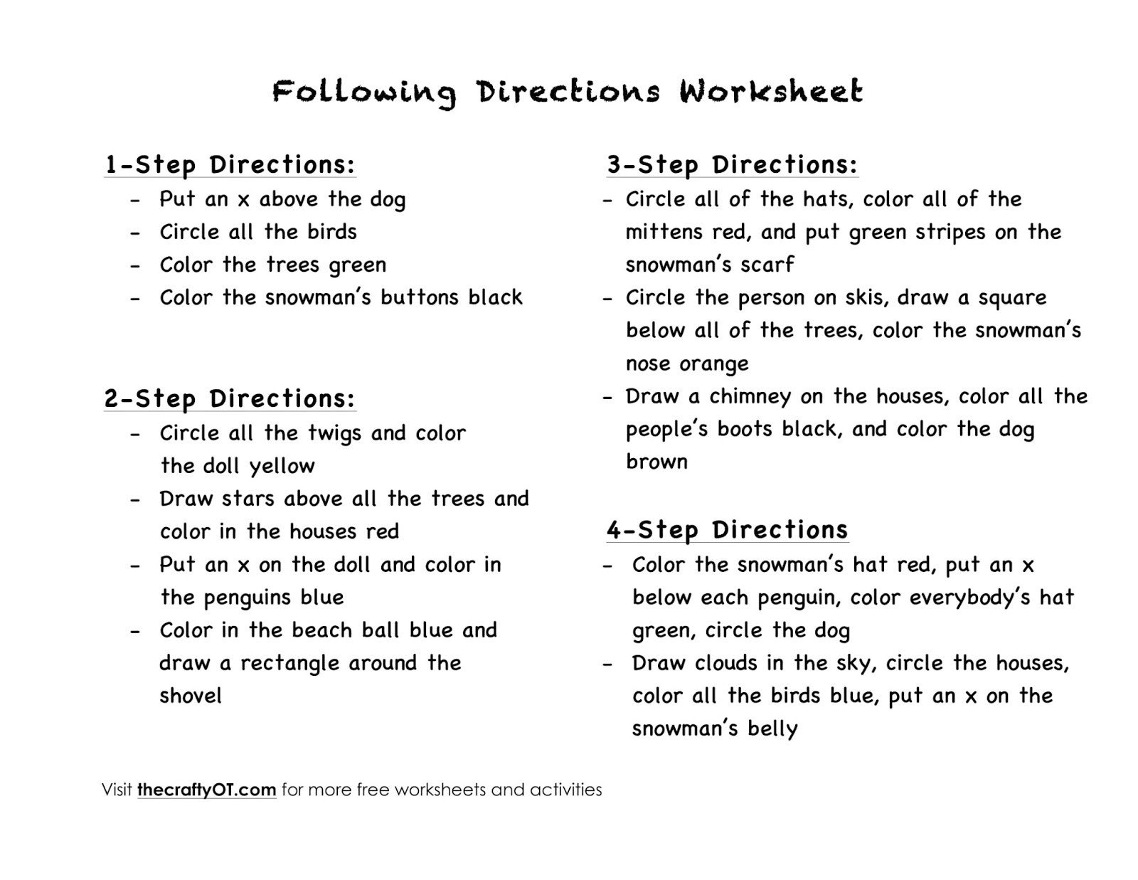 20 Multi Step Directions Worksheets