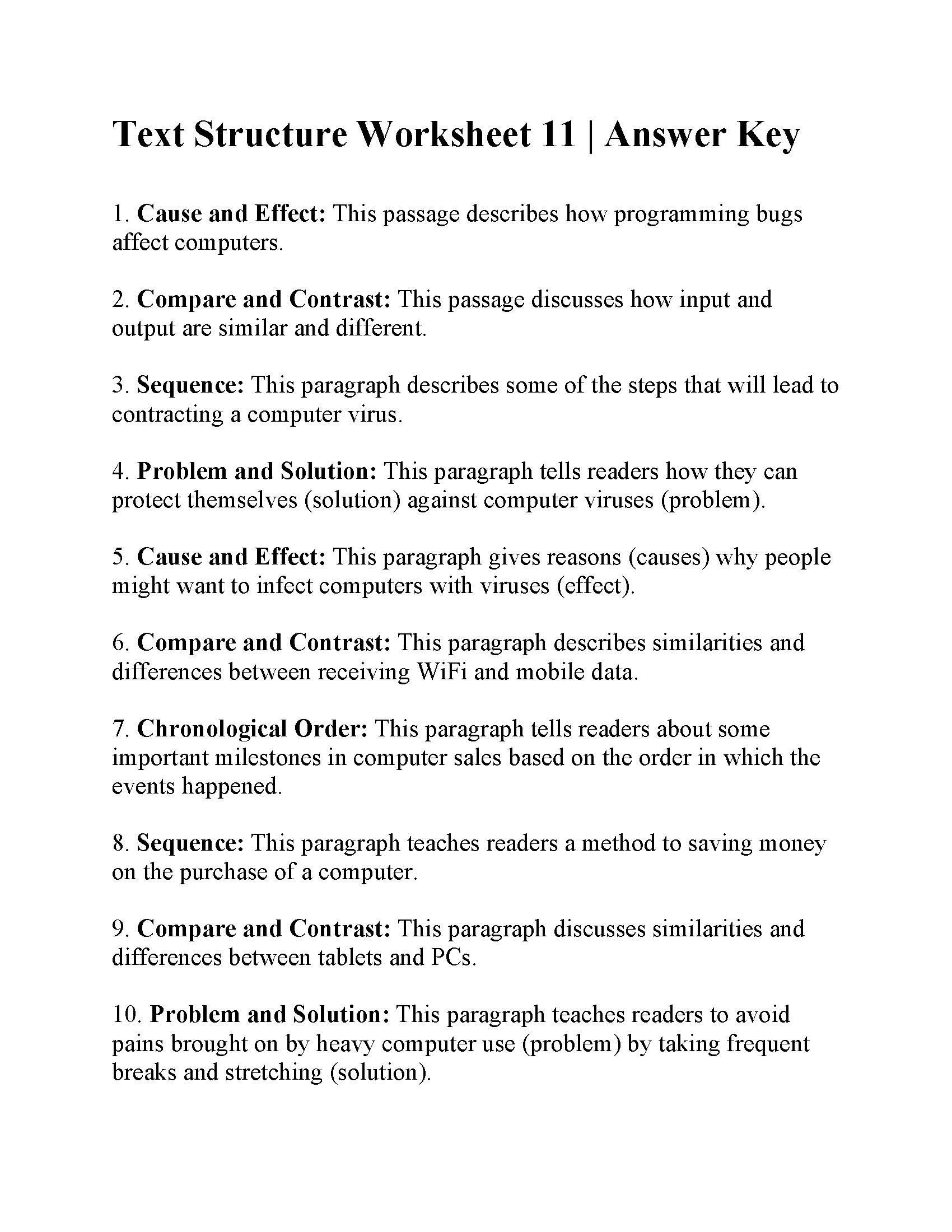 20 Problem And Solution Reading Worksheets