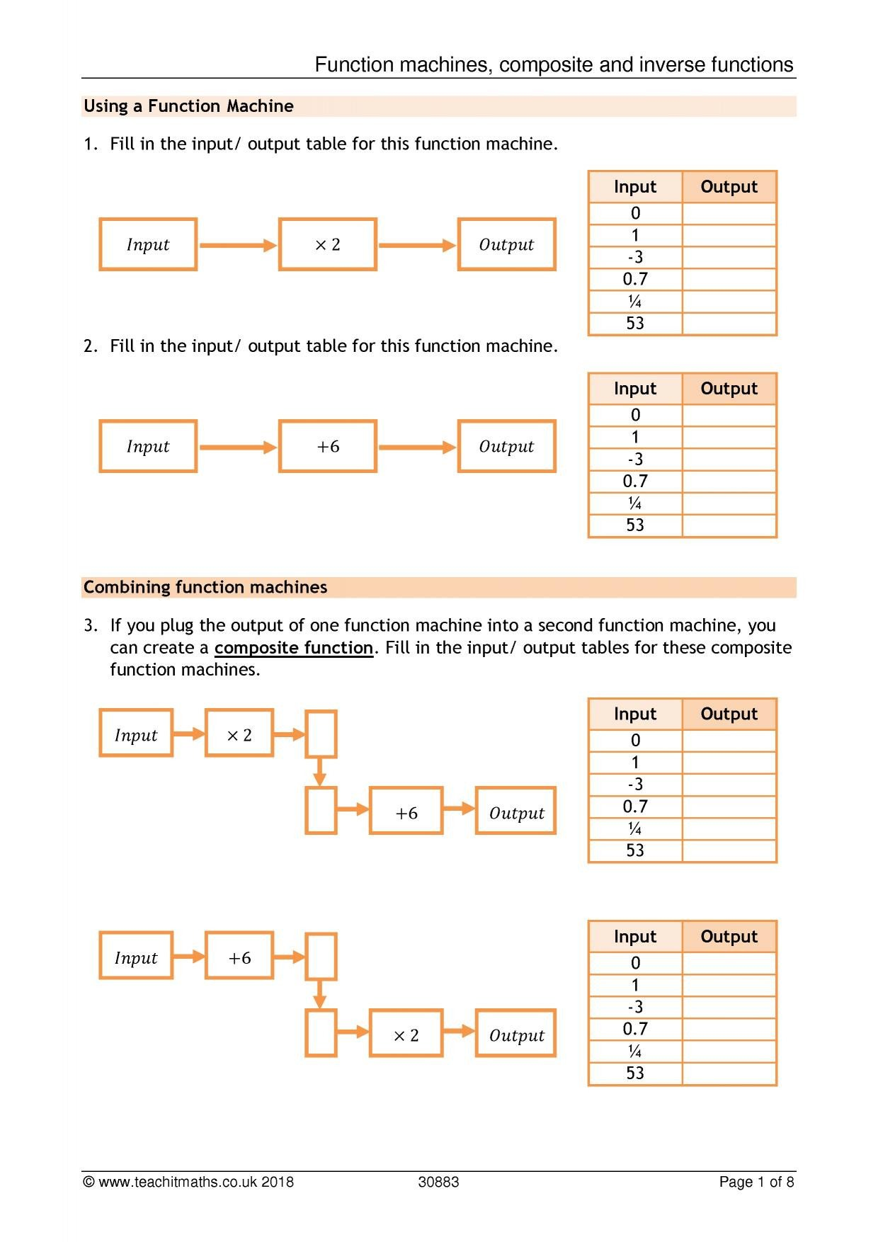 20 Input Output Machines Worksheets