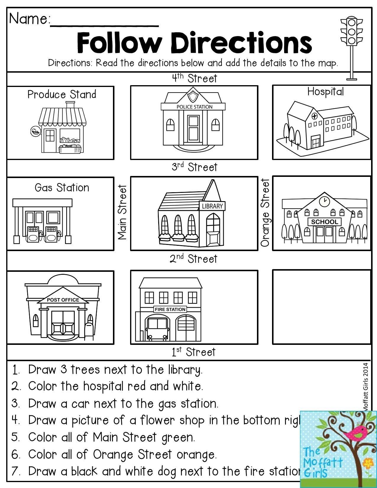 20 Following Directions Worksheets For Kindergarten