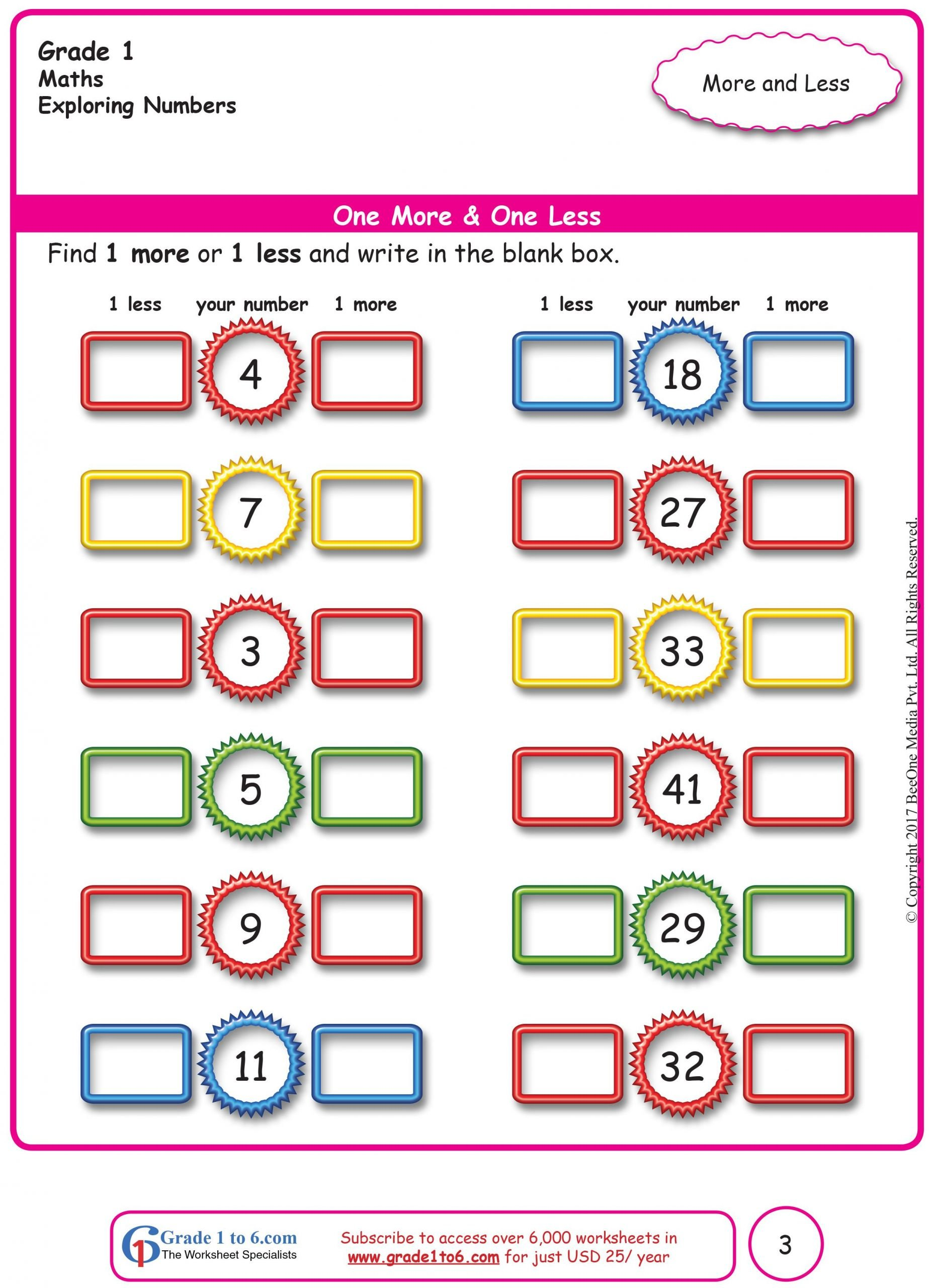 One Less Worksheet E More And One Less Interactive