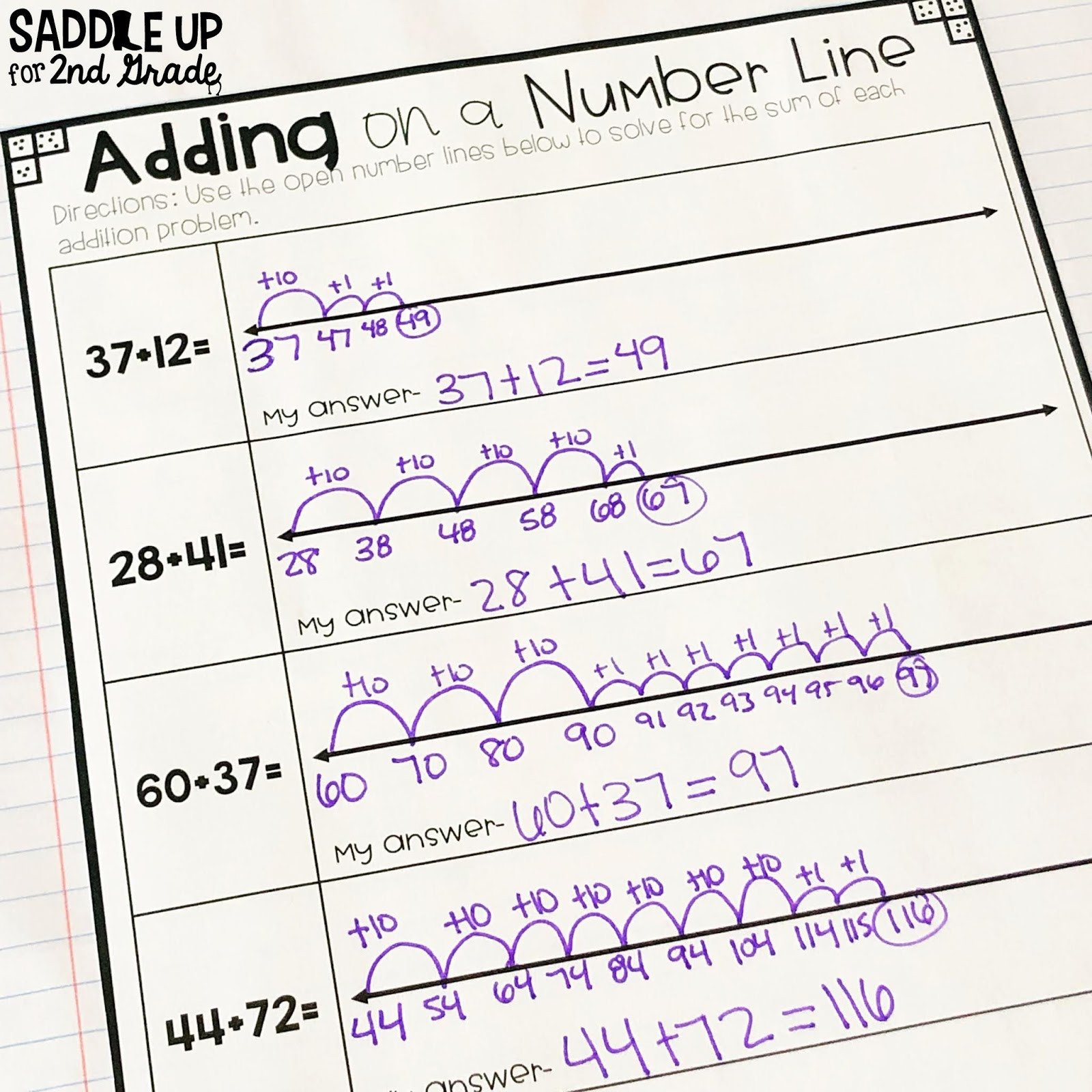 20 Open Number Line Addition Worksheet