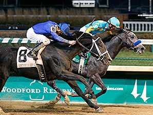 El Kabeir enters the Jerome Stakes as the 2-1 favorite. As shown above, he won the 2014 Kentucky Jockey Club by a head (Reed Palmer Photography / Churchill Downs)