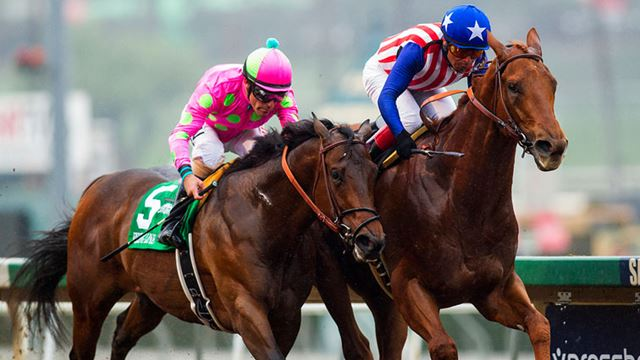 Dortmund beat Firing Line by a head to win the Robert B Lewis Stakes (Eclipse Sportswire)