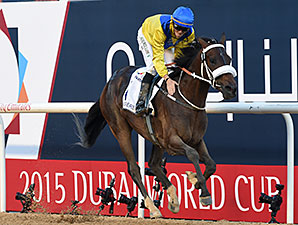 Mubtaahij had little trouble in the Group 2 UAE Derby (Photo: Dubai Racing Club/Mathea Kelley)