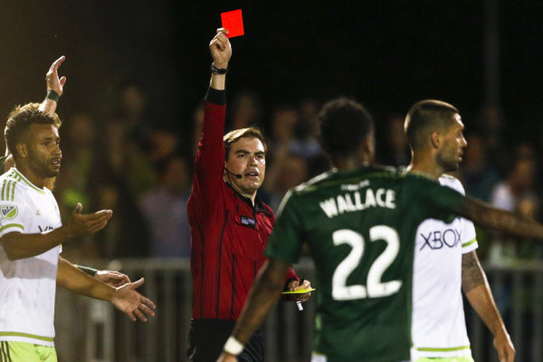 Clint Dempsey gets a red card for his actions on Tuesday against Portland in the U.S. Open Cup (Jennifer Buchanan/USA TODAY Sports)