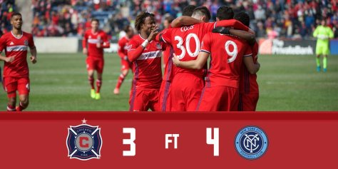 Chicago was unable overcome a 3-1 halftime deficit as they lost opening day to New York City FC (Photo courtesy of Chicago Fire's Twitter account.)