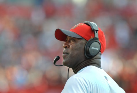 Lovie Smith as the head coach of the Tampa Bay Buccaneers against another of his former teams, the Chicago Bears. (Cliff McBride/Getty Images North America)