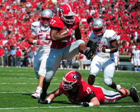 Nick Chubb and Georgia will be facing Missouri on the road this week. Can the rushing attack explode as they did in week one against North Carolina? (Scott Cunningham/Getty Images North America)