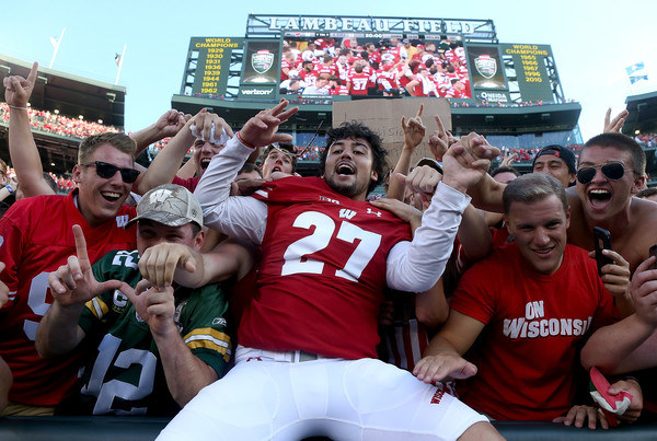 Rafael Gaglianone celebrated after Wisconsin's 16-14 win over LSU. His field goal late in the game proved to be the difference. (Dylan Buell/Getty Images North America)