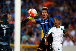 Club Brugge's player dior scores first goal for his club against panaithanaikos