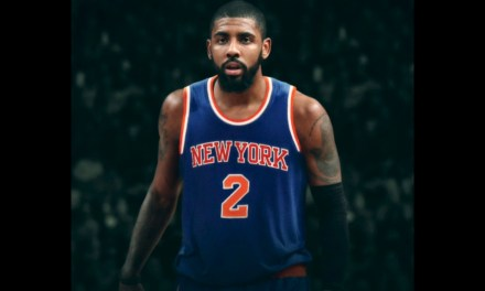 Fan Tries to Recruit  Kyrie Irving to the Knicks at Party