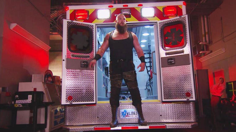 Image result for Braun Strowman return on RAW in an ambulance