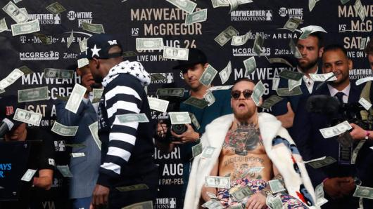 Image result for conor mcgregor floyd mayweather brooklyn making it rain