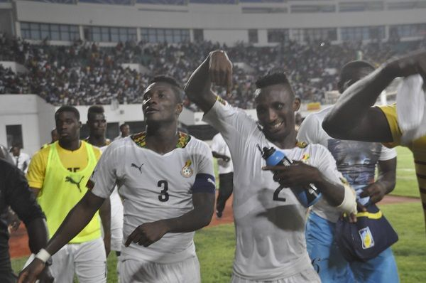 Gyan and Afful celebrate