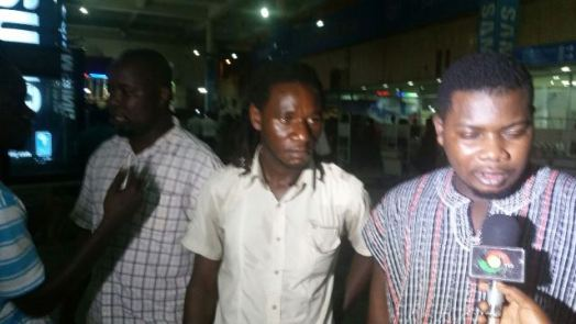 McDon with Allan Kamote when George Ashie's opponent arrived at teh Kotoka International Airport ahead of the December 5, 2014 fight