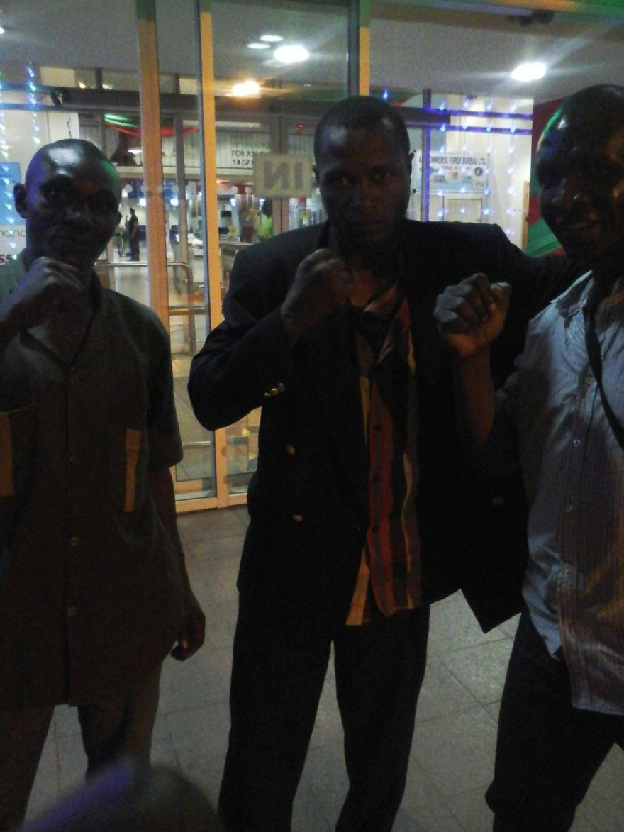 Momba with his team on arrival in Accra on Saturday