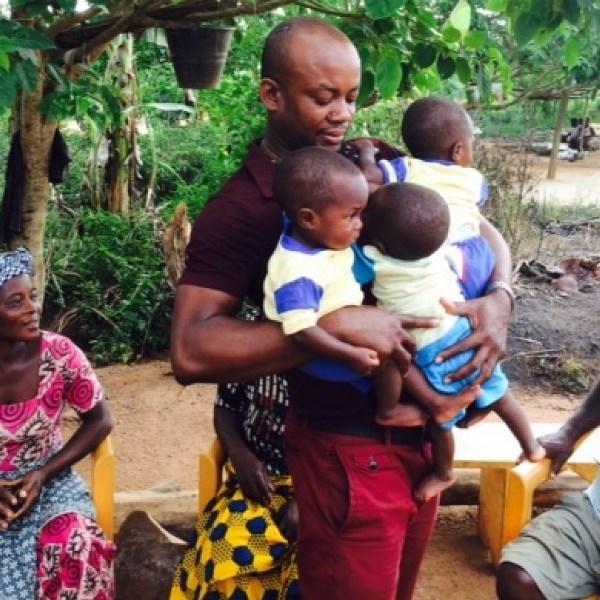 Sammy Anim Addo holds all triplets