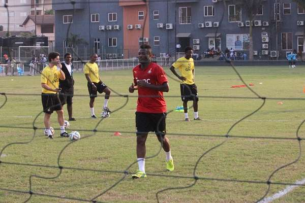 Captain Asamoah Gyan warms up at the Black Stars training on Wenesday