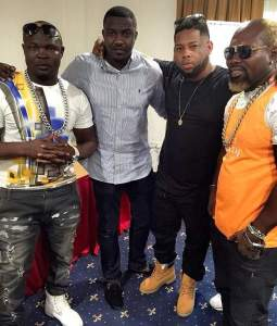 Bukom Banku and Ayitey Powers with John Dumelo and D-Black at the announcement of the fight which is now off