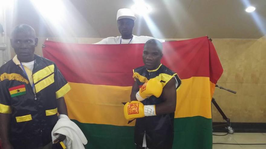 Chorkor Banku clad in full Ghanaian colours before his fight against Xiao