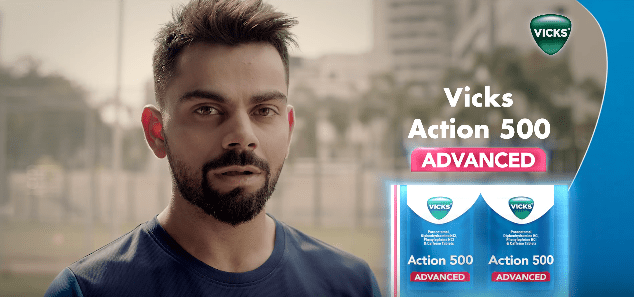 Virat Kohli Brand Ambassador Endorsements Advertising TVCs product promotions brand value list  Vicks Action 500 Advanced Cough Drops