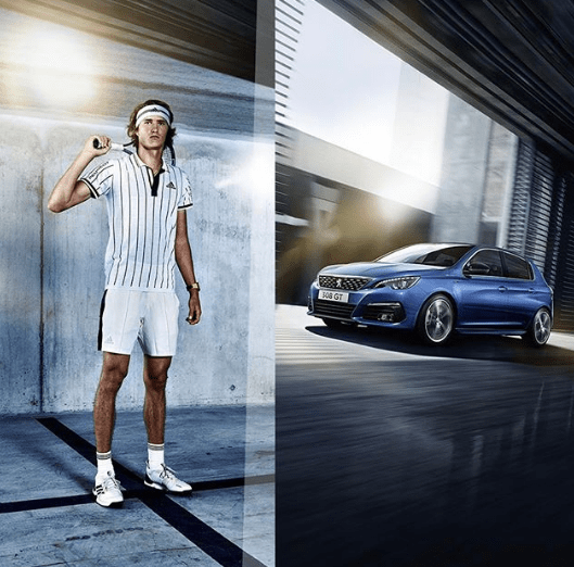 Luxury cars endorsed advertised promoted driven by tennis male female players sports sponsors list Alexander Zverev - Peugeot