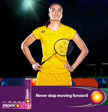 PV Sindhu Brand Ambassador Endorsements Value Sponsors Advertising Commercials TVCs Partnerships Logos on Jersey Moov