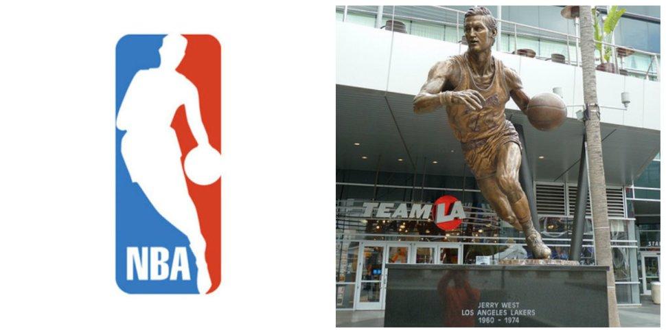 Logo NBA y estatua Jerry West