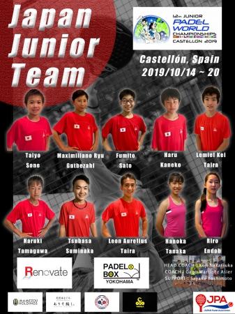 世界ジュニアパデル選手権日本代表メンバー発表のお知らせ