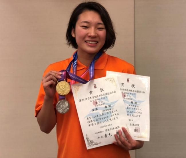 【新潟医療福祉大学 水泳部】2年連続のインカレチャンピオン輩出!深澤 舞 選手 女子200m平泳ぎで優勝!