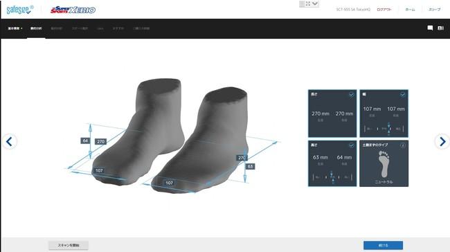 足のサイズや土踏まずのタイプなどを計測
