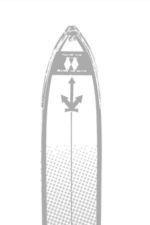 スキー板の先端についた 矢印3本のマーク