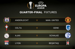 Europa League QF draw takes place, Man Utd will face Anderlecht
