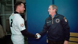 FIRST PITCH - Bush shaking Jeter's hand (Still)