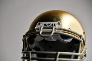 Bristol, CT - July 9, 2014 - Photo Studio: The University of Notre Dame Fighting Irish college football helmet (Photo by Rich Arden / ESPN Images)