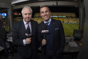 Columbus, OH. - March 29, 2016 - MAPFRE Stadium: Ian Darke and Taylor Twellman in the broadcast booth during the U.S. and Guatemalan Men's National Soccer Team during the 2018 FIFA World Cup Qualifying Semifinal Round (Photo by Ben Solomon / ESPN Images)