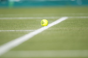 LONDON, ENGLAND - JUNE 25, 2011: Tennis ball on the court at the All England Lawn Tennis and Croquet Club in Wimbledon during the 125th staging of the Wimbledon Championships (Photo by Scott Clarke / ESPN) - RAW FILE AVAILABLE -.- CMI000146735.jpg -