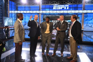 Bristol, CT - August 24, 2016 - Studio W: Charles Woodson, Matt Hasselbeck,  Randy Moss, Trent Dilfer and Chris Berman on the set of Sunday NFL Countdown (Photo by Joe Faraoni / ESPN Images)