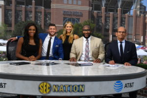 College Station, TX - September 3, 2016 - Texas A&M University : Maria Taylor, Tim Tebow, Laura Rutledge, Marcus Spears and Paul Finebaum on the set of SEC Nation (Photo by Joe Faraoni / ESPN Images)