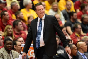 Ames, IA - January 17, 2015 - Hilton Coliseum: Bill Self of the Kansas Jayhawks during a regular season game (Photo by Phil Ellsworth / ESPN Images)