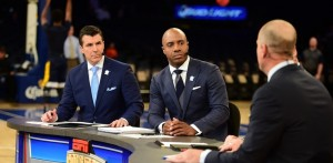 New York, NY - December 8, 2015 - Madison Square Garden: Rece Davis and Jay Williams on the set of College GameDay Covered by State Farm during the Men's Jimmy V Classic (Photo by Joe Faraoni / ESPN Images)