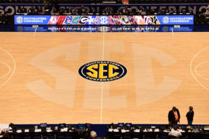 Nashville, TN - March 9, 2016 - Bridgestone Arena: SEC logo at mid court during the 2016 SEC Men's Basketball Tournament (Photo by Phil Ellsworth / ESPN Images)