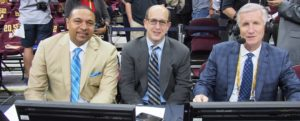 Cleveland, OH - June 11, 2015 - Quicken Loans Arena: NBA commentators Mark Jackson (l), Jeff Van Gundy and Mike Breen before the start of the game (Photo by Scott Evans / ESPN Images)