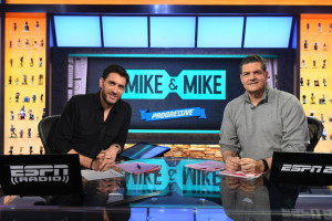 Bristol, CT - February 8, 2016 - Studio F: Mike Greenberg and Mike Golic on the set of Mike & Mike (Photo by Joe Faraoni / ESPN Images)