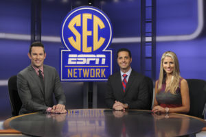 Charlotte, NC - July 29, 2016 - Frenette Building: Peter Burns, Dari Nowkhah and Laura Rutledge on the set of SEC Now (Photo by Travis Bell / ESPN Images)