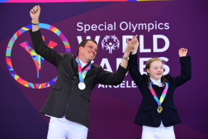 Burbank, CA - July 29, 2015 - Griffith Park: Thomas Connolly of Ireland and Dearbhail Savage of Ireland during awards ceremony in equestrian during the 2015 Special Olympics World Summer Games (Photo by Kohjiro Kinno /  ESPN Images)