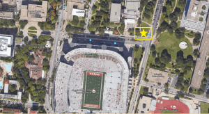 Aerial view of the new Texas GameDay set location
