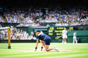Wimbledon, England - July 6, 2016 - AELTC:  A ballgirl during the Men's singles quarter final match during the 130th edition of the Wimbledon Championships (Photo by Scott Clarke / ESPN Images)