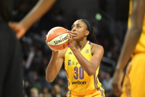 Los Angeles, CA - September 16, 2016 - Staples Center: Nneka Ogwumike (30) of the Los Angeles Sparks during a regular season game (Photo by Scott Clarke / ESPN Images)